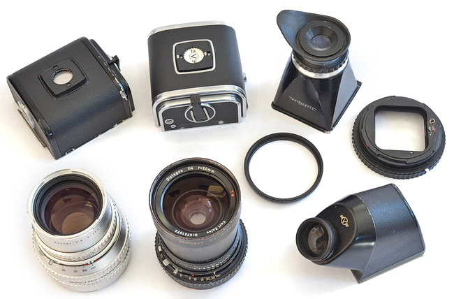 Versatility is the Hasselblad's calling card. I have a variety of flim backs, finders, and lenses that let me configure the Hassy to suit my needs.